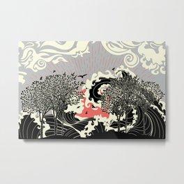 Art nouveau landscape with black trees and ocean waves Metal Print