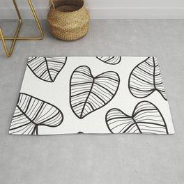 Taro Leaf with White Background Rug
