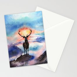 Deer on the top of the World - Watercolor Painting Art Stationery Cards