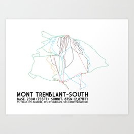 Mont Tremblant, Quebec, Canada -South Side - Minimalist Trail Art Art Print