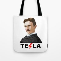 tesla Tote Bags featuring Tesla by Vi Sion