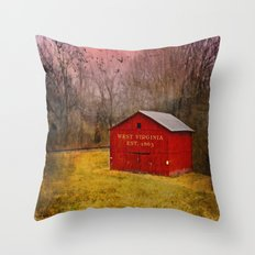 West Virginia Red Barn Throw Pillow