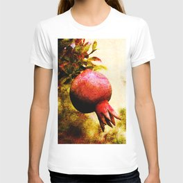 Pomegranate fruit growing on its branch T-shirt