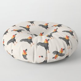 Pattern with black roosters on beige background Floor Pillow