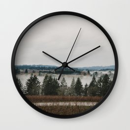 Clouds of fog amongst the trees in Willamette Valley, Oregon Wall Clock