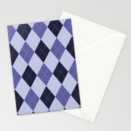 Blue Argyle Pattern Stationery Cards