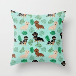 dachshund summer tropical monstera palms dog breed pure breed pets Throw Pillow