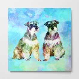 Miniature Schnauzer dogs Watercolor Digital Art Metal Print