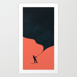 Night fills up the sky Art Print