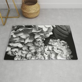 Hydrangeas Black and White Rug