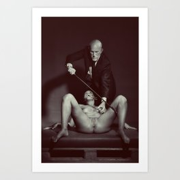 The Cane 2# Nude woman and her master Art Print