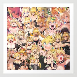 Bowsette Manga Anime Girls Collage in Colour Art Print