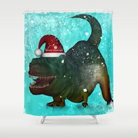 t rex Shower Curtains featuring T-rex, merry christmas by nicky2342