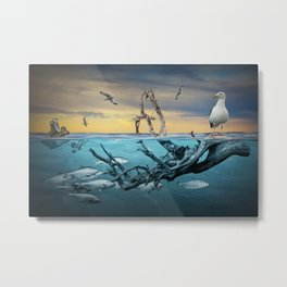 Floating Driftwood with Gulls and School of Fish Metal Print