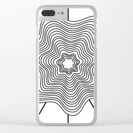 Black white curved lines Clear iPhone Case