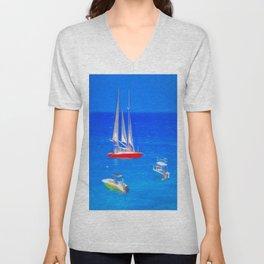 Caribbean Catamaran Art Unisex V-Neck