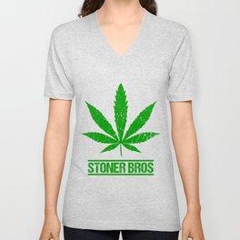 STONER BROS Marijuana Leaf Gifts For Stoner 420 Unisex V-Neck