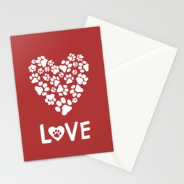 Dog Paw Prints Heart | Dog Lover Valentine Stationery Cards