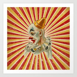 Scary vintage circus clown Art Print