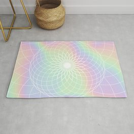 Sacred Geometric Holographic Circular Floral Art Rug