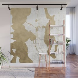 Seattle White and Gold Map Wall Mural