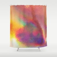 holographic Shower Curtains featuring An abstract colorful holographic futuristic texture. by Bastetamon