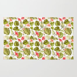 Tropical blush pink green modern vector floral pattern Rug
