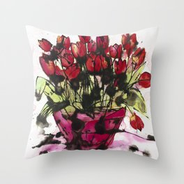 Red Tulips in a Pink Pot: a lively expressive artwork full of paint splashes and love Throw Pillow