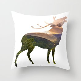 Elk Silhouette with Wilderness Inlay Throw Pillow