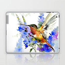 Alen's Hummingbird and Blue Flowers, floral bird design birds, watercolor floral bird art Laptop & iPad Skin
