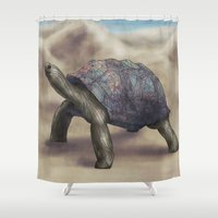tortoise Shower Curtains featuring Tortoise by Ben Geiger