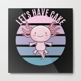Kawaii Axolotl Ace - Let's have Cake Metal Print