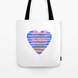 Glitching Hearts — Pink, Blue, and Orange Tote Bag