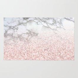 She Sparkles - Pastel Pink Glitter Rose Gold Marble Rug