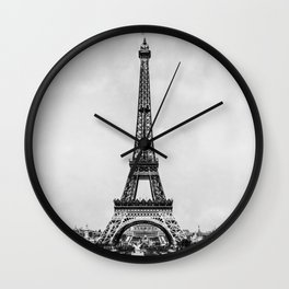 Eiffel tower in B&W with painterly effect Wall Clock