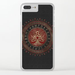 Tree of life with Triquetra Black Red Leather and gold Clear iPhone Case