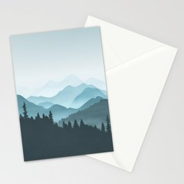 Teal Mountains Stationery Cards