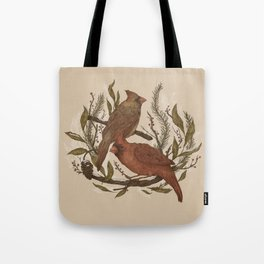 Wintery Cardinals Tote Bag