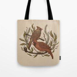 Wintery Cardinals Tote Bag