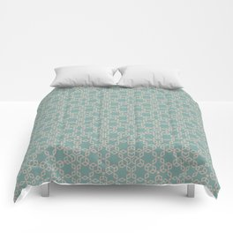 Mint and Cream Pastel Star Pattern Comforters