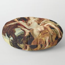 Peter Paul Rubens- The Rape of the Daughters of Leucippus Floor Pillow
