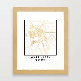MARRAKESH MOROCCO CITY STREET MAP ART Framed Art Print