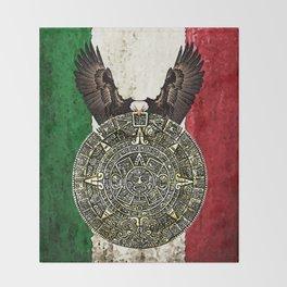 MEXICAN EAGLE AZTEC CALENDAR FLAG Throw Blanket