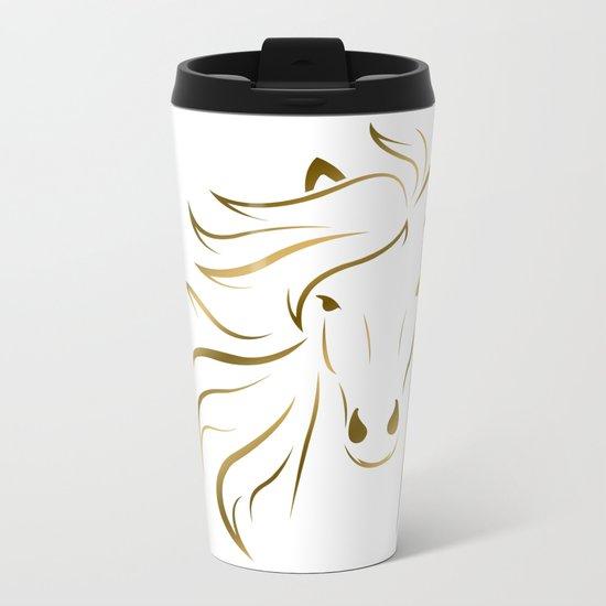 Golden Horse Drawing Metal Travel Mug
