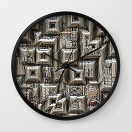 Abstract Geometric City Collage Wall Clock
