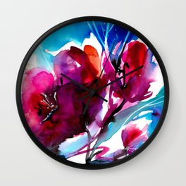 Colorful Bloom No. 2 by Kathy Morton Stanion Wall Clock