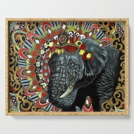 Elephant Red and Gold Indian Yoga Mandala Serving Tray