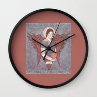 sam winchester Wall Clocks featuring Guardian Angel Sam Winchester by KARADIN