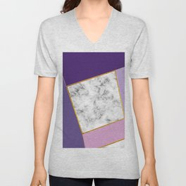 Purple polygons with marble Unisex V-Neck