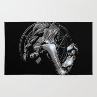 fullmetal Area & Throw Rugs featuring Edward Metal by BradixArt